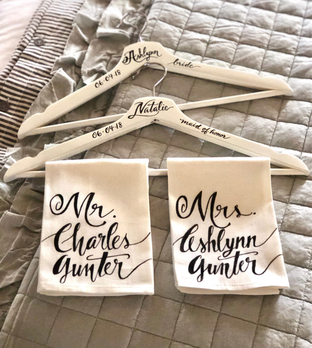 Custom Calligraphy Wooden Wedding Hangers, Calligraphy, Gifts, Bridesmaids Personalized, Bride Hanger