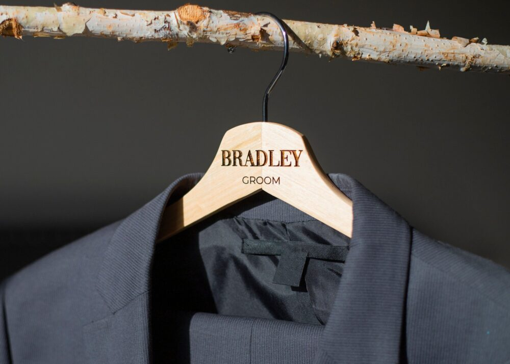 Personalized Wooden Hanger// Engraved Wedding Hanger//Personalized Groom Groomsman