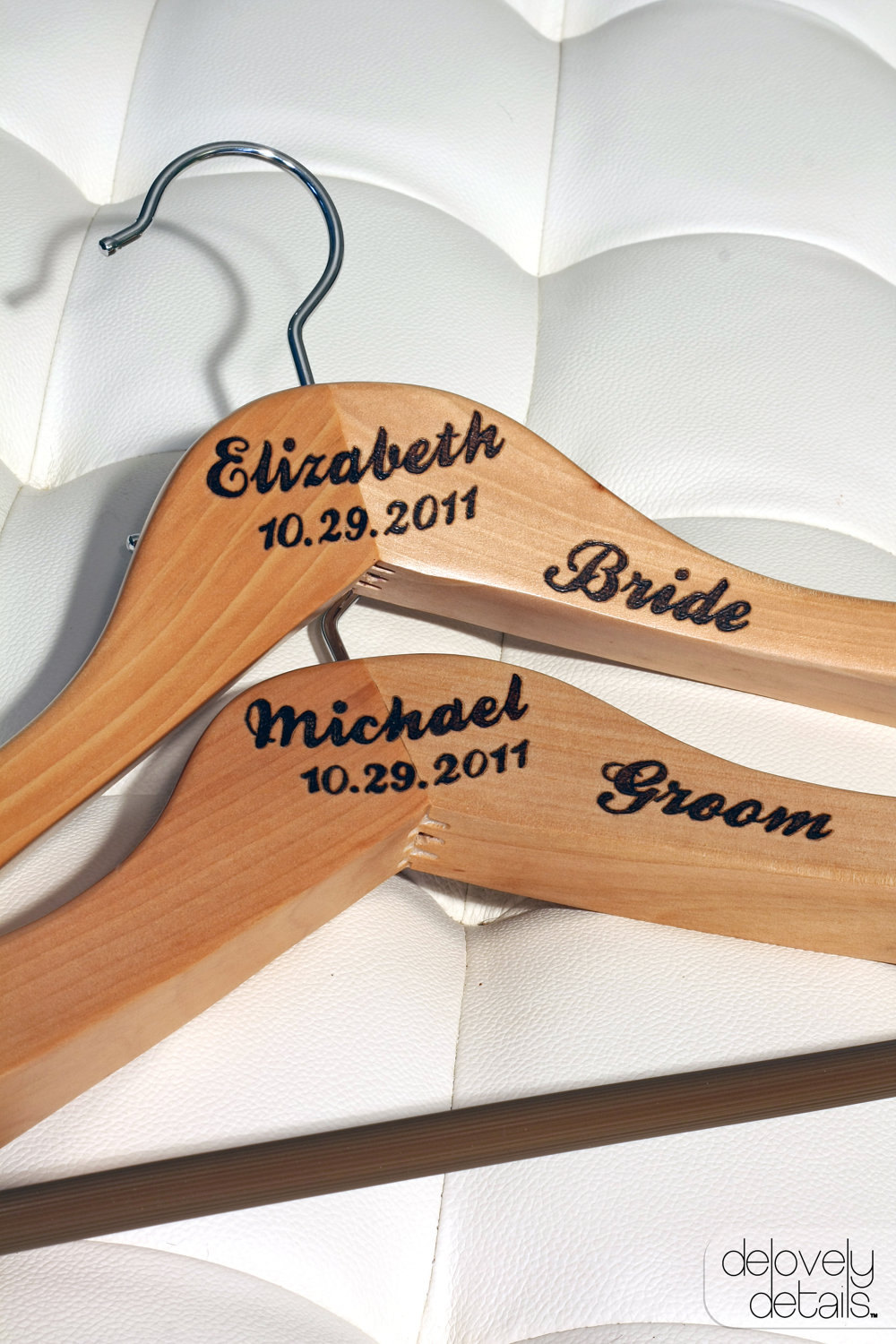 Customized/Personalized Premium Hanger Set For Bride's Wedding Dress & Groom's Tux/Suit - Wooden