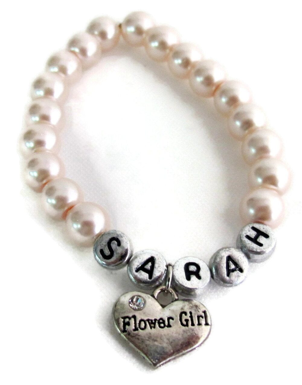 Girls Personalized Flower Girl Bracelet Kids Pearl Bracelet, Wedding Jewelry Free Shipping in Usa