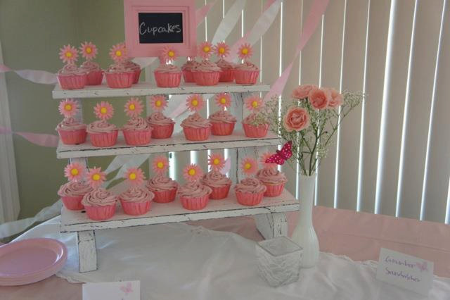 The Small Cupcake Stand - 3 Tiered Rustic Painted & Distressed Wood Display Weddings Parties Craft Fairs Boutiques