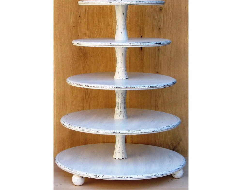 5 Tier Cupcake Stand 18-16-14-12-10 Inches, Wedding Stand, Cake Stand, Wood Shabby White Chic Wedding, Tower