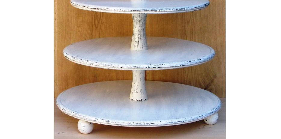 3 Tier Cupcake Stand 16-14-12 Inches, Wedding Stand, Cake Stand, Wood Shabby White Chic Wedding, Tower