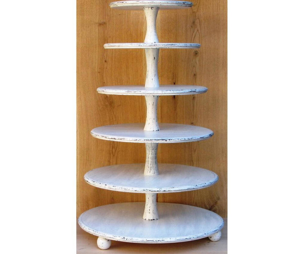 6 Tier Cupcake Stand 18-16-14-12-10-8 Inches, Wedding Stand, Cake Stand, Wood Shabby White Chic Wedding, Cupcake Tower