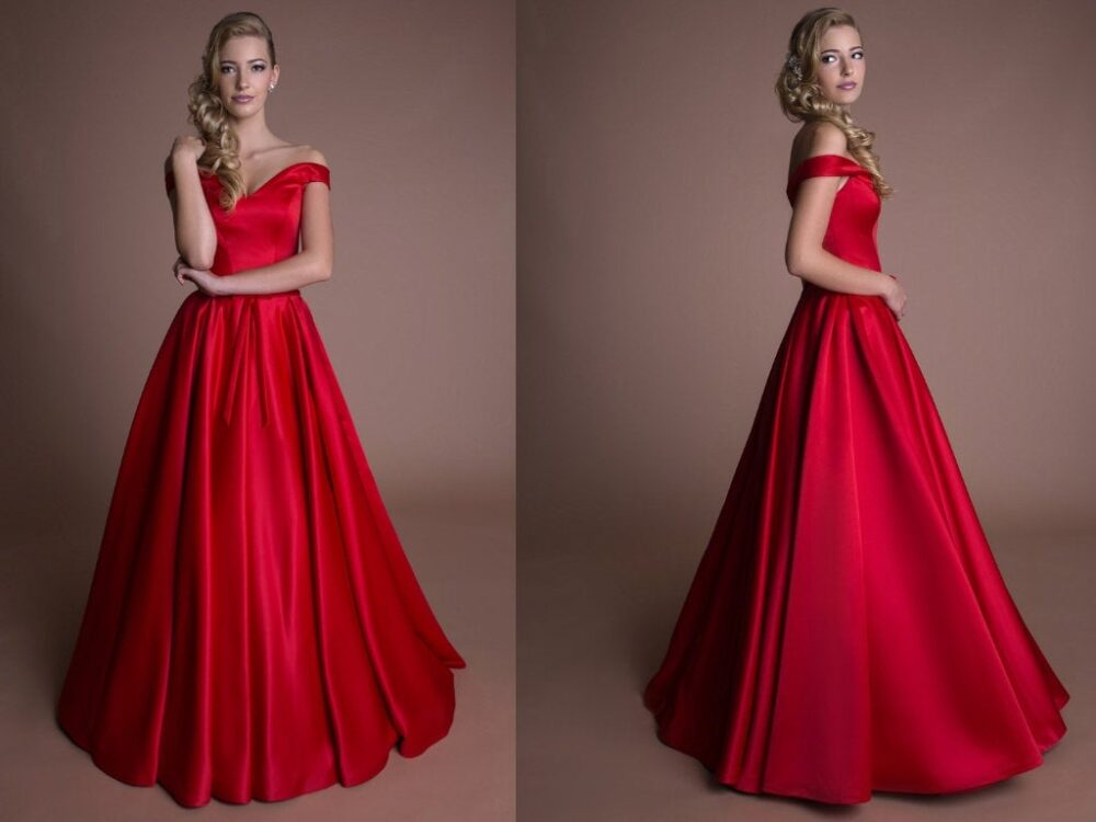Red Evening Dress A-Line Gown Off Shoulder Occasion Long Satin Custom Made Maxi Prom Unique Formal Homecoming Dresses