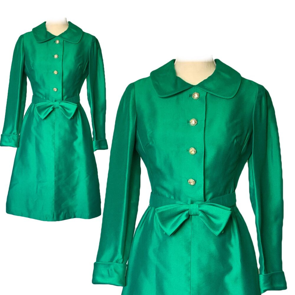 Vintage 1960S Green A-Line Dress By Rona With Stunning Bow & Jewelled Accents. Perfect Formal Event Attire Or A Holiday Party
