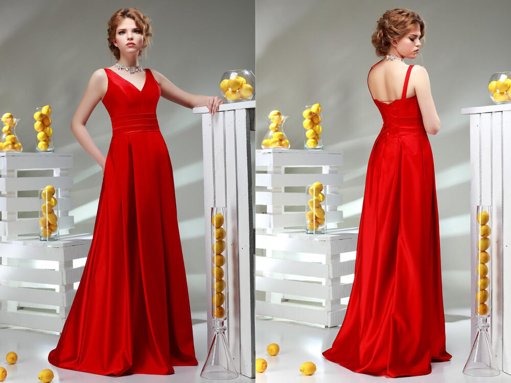 Simple A-Line Red Evening Gowns Spaghetti Straps V Neck Open Back Satin Long Prom Dresses With Pockets Sleeveless Party
