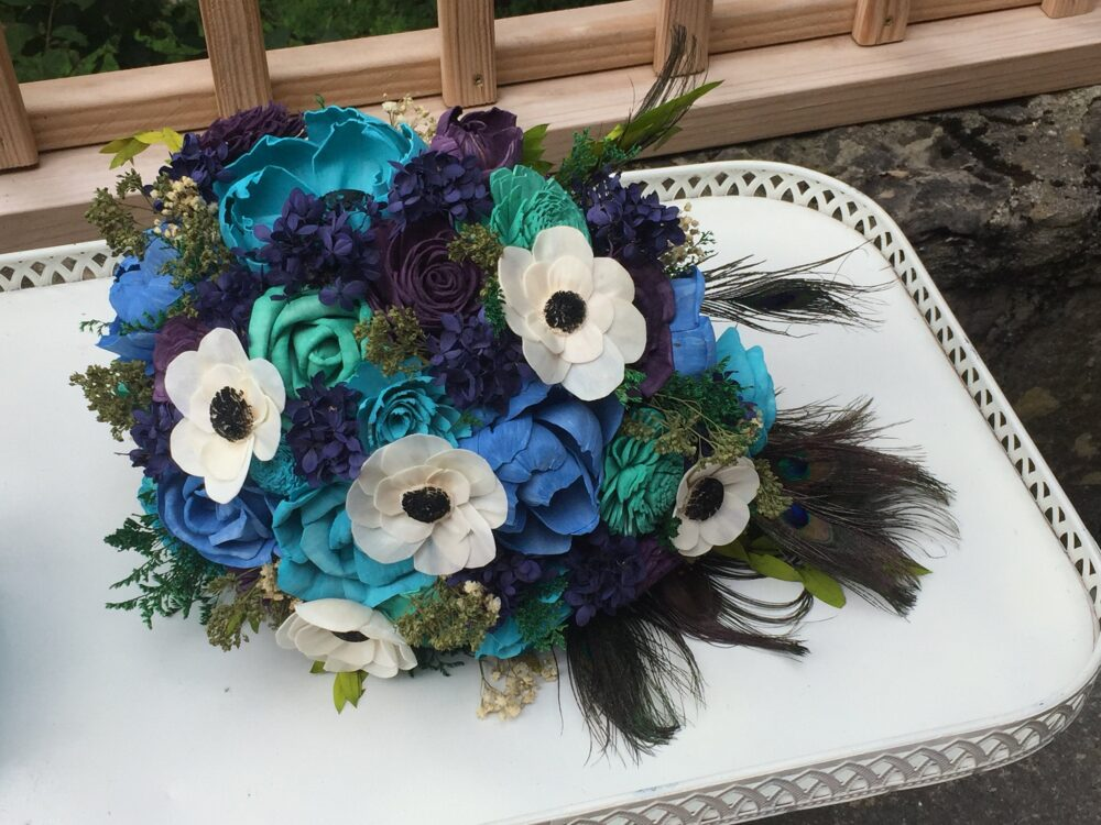 Ready To Ship - Teal, Royal Blue, Aqua, Anemones, Peacock Feathers Wedding Bouquet Made With Sola Flowers