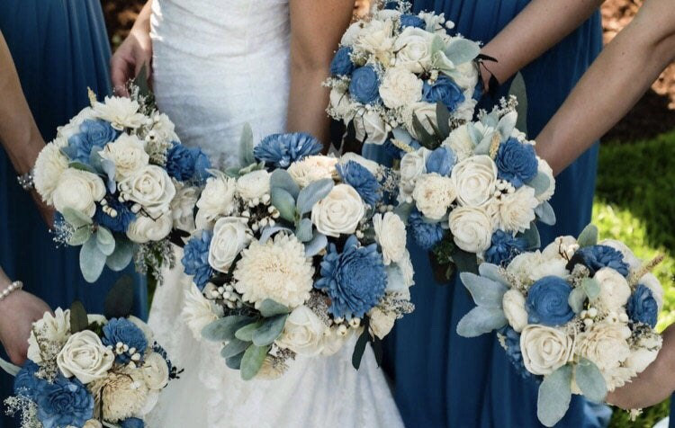 Dixie's Collection ~ Wedding Bouquet, Wood Sola Flowers, Steel Blue, Ivory, Eucalyptus Flower, Customized To Any Colors