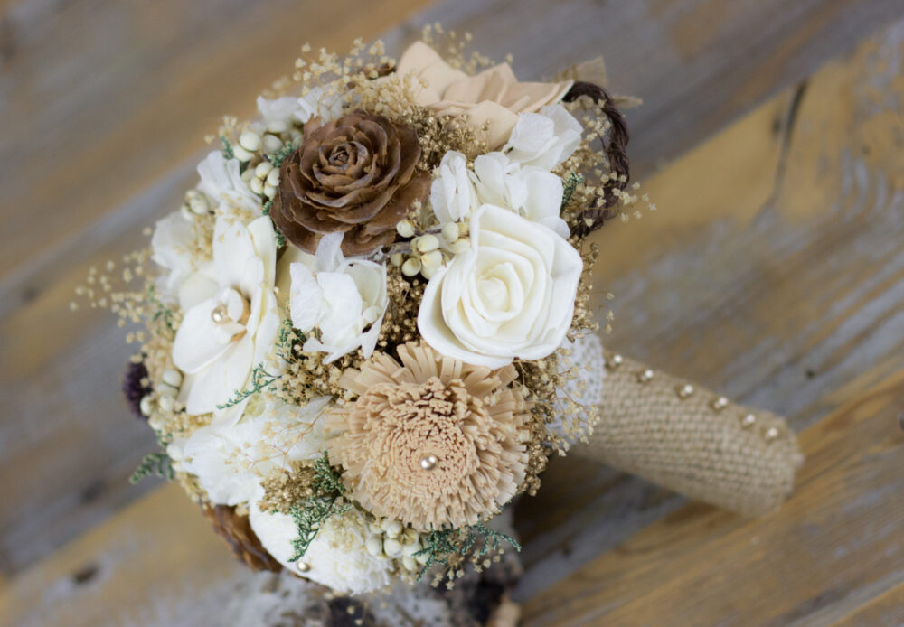 Wedding Bouquet, Bridal Woodland Sola Flower Tan/Natural/ Brown Keepsake Bouquet, Handmade Bouquet