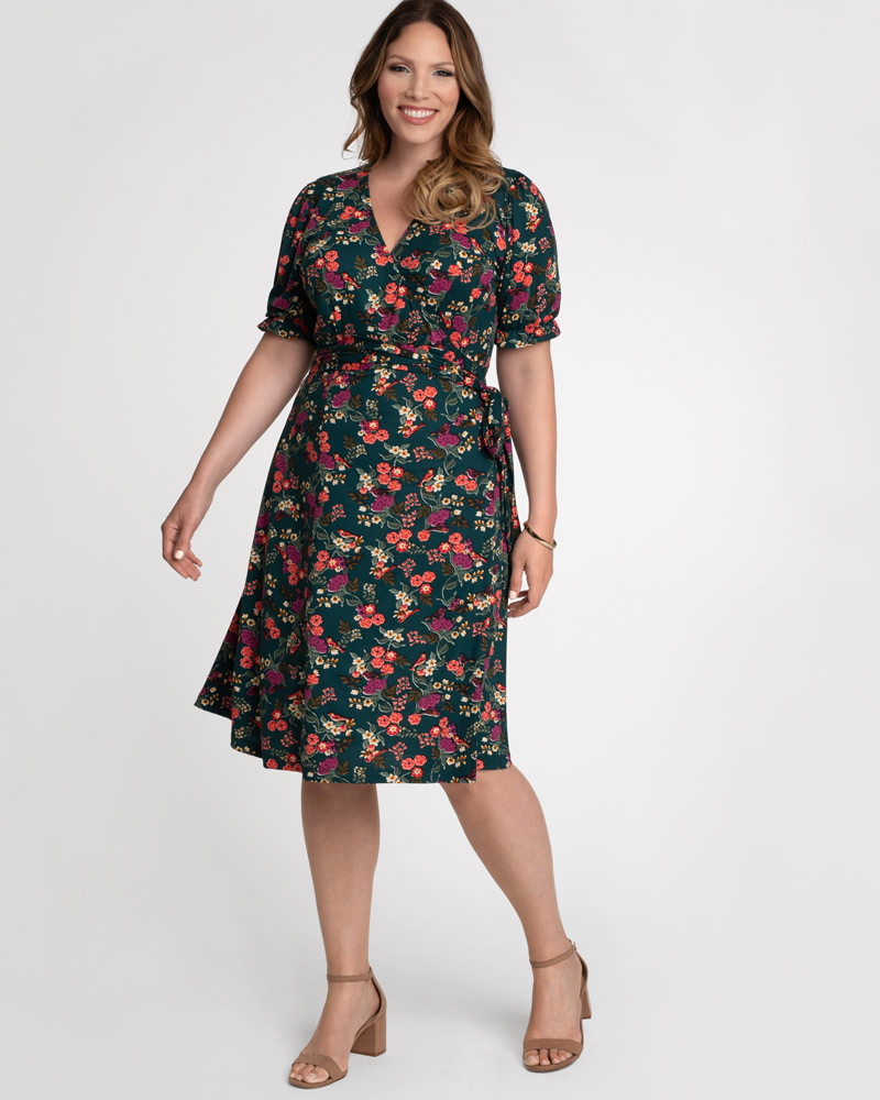 Kiyonna Womens Plus Size Tuscan Tie Wrap Dress - Sale!