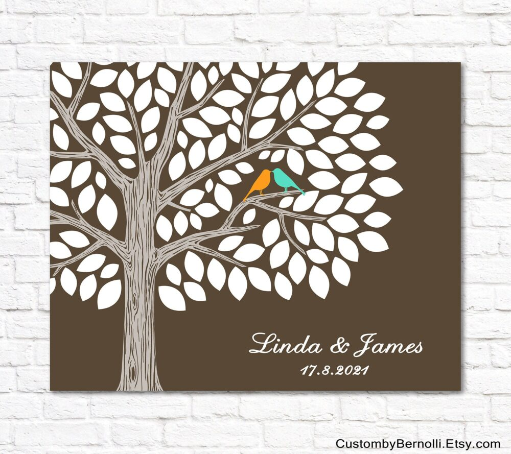 Custom Wedding Guest Book Alternative, Printable Tree With Love Birds, Signature Guestbook Sign in Around 100 Guests