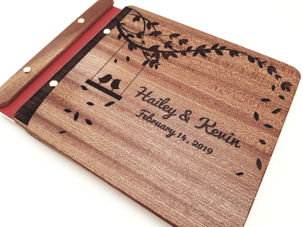 Custom Personalized Wood Guest Book Love Birds On Swing, Wooden Photo Album, Memory Book, Rustic Wedding Leather