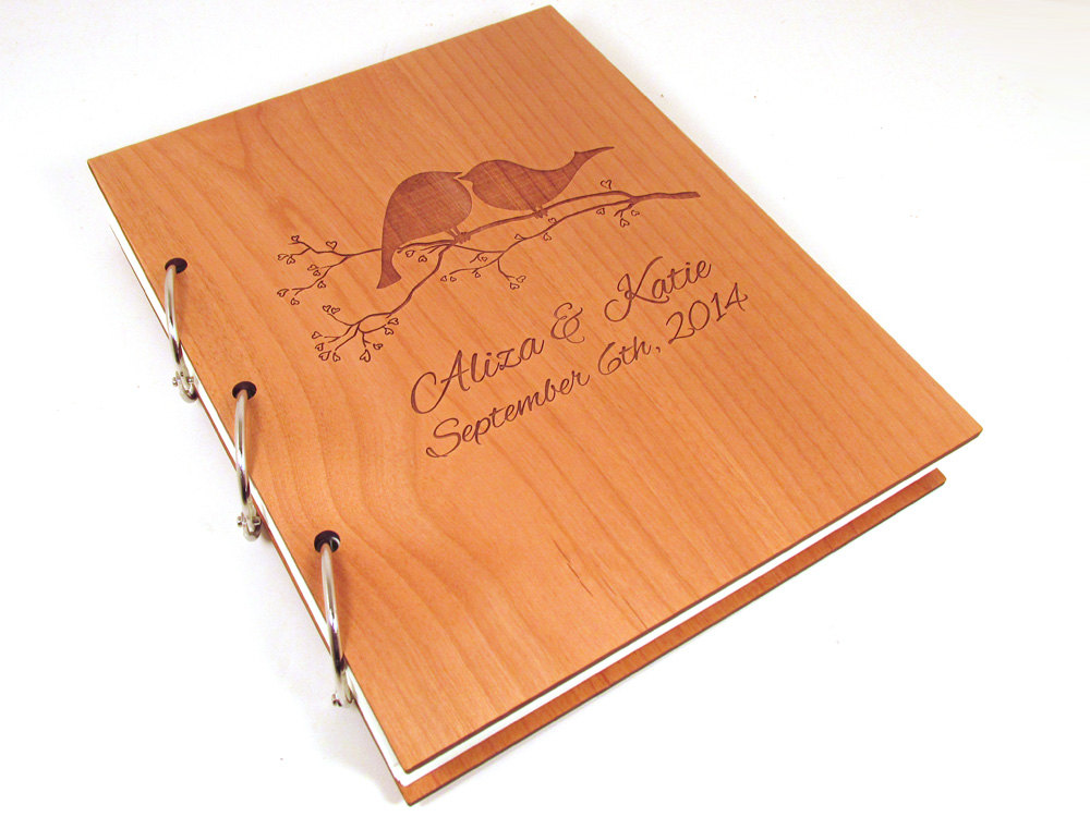 Love Birds Wooden Wedding Guest Book Photo Album - Large Size
