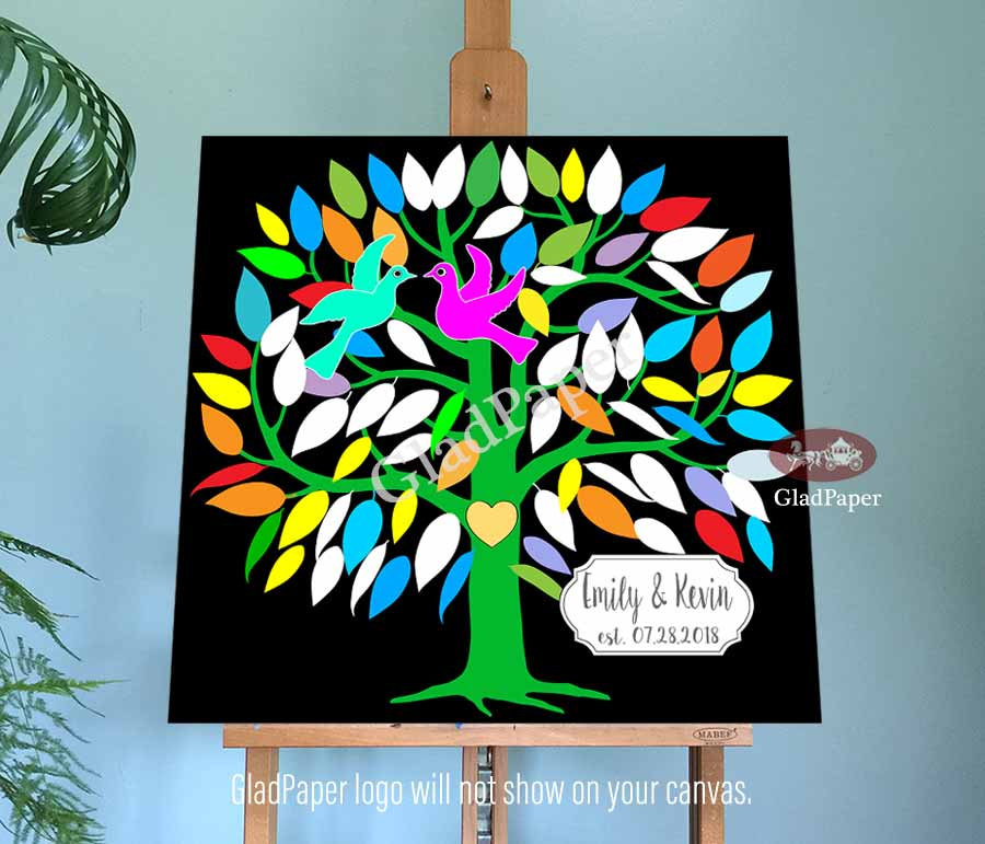 Love Birds Wedding Guest Book, Tree Guestbook, Guestbook Alternative, Personalized Canvas