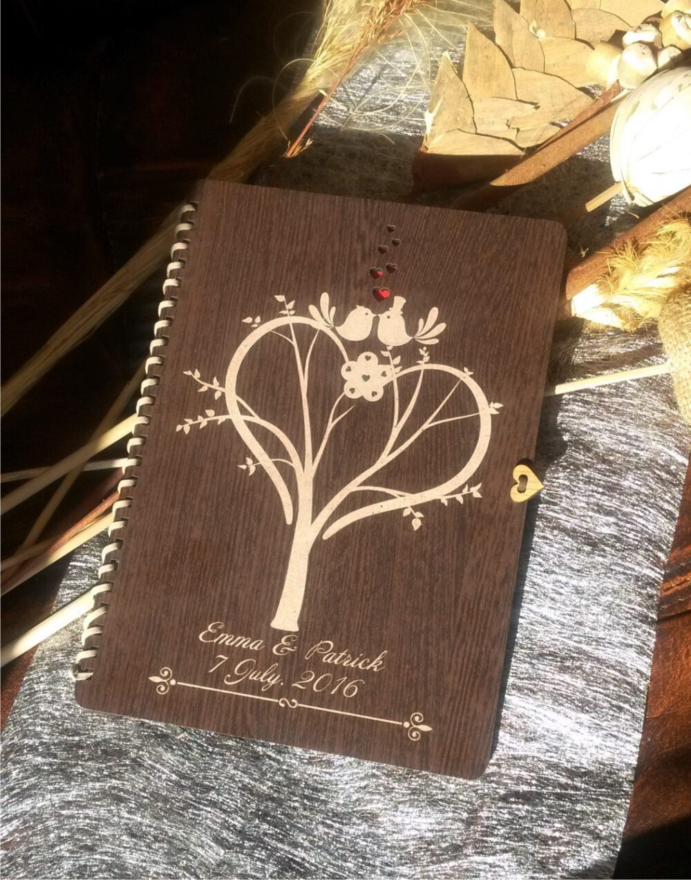 Custom Wedding Guest Book ; Rustic Wedding ;engraved Wooden Book, Wood Love Birds