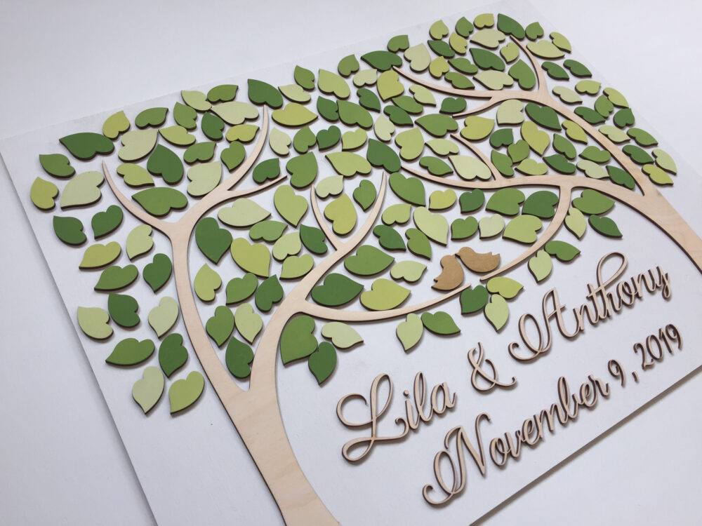 Wedding Guest Book Alternative Wood Tree Of Life With Green Heart Leaves & Gold Love Birds