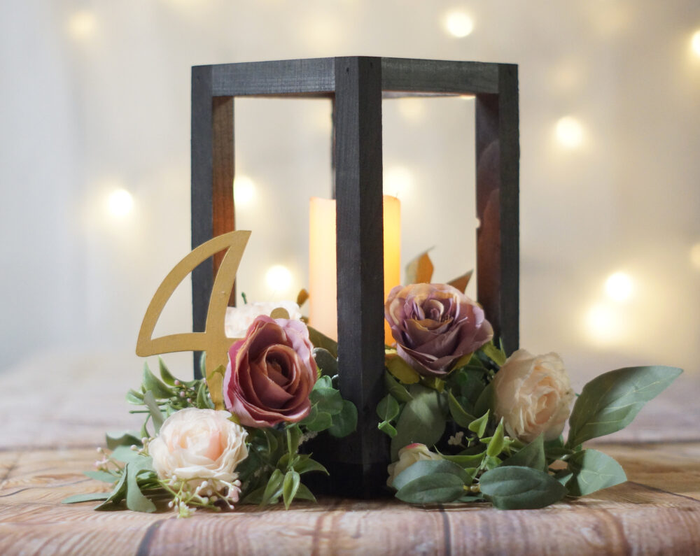 Wood Lantern Centerpiece, Spring Wedding Table Lantern, Bohemian Garden Outdoor Decoration, Simple Casual Boho Rustic Chic