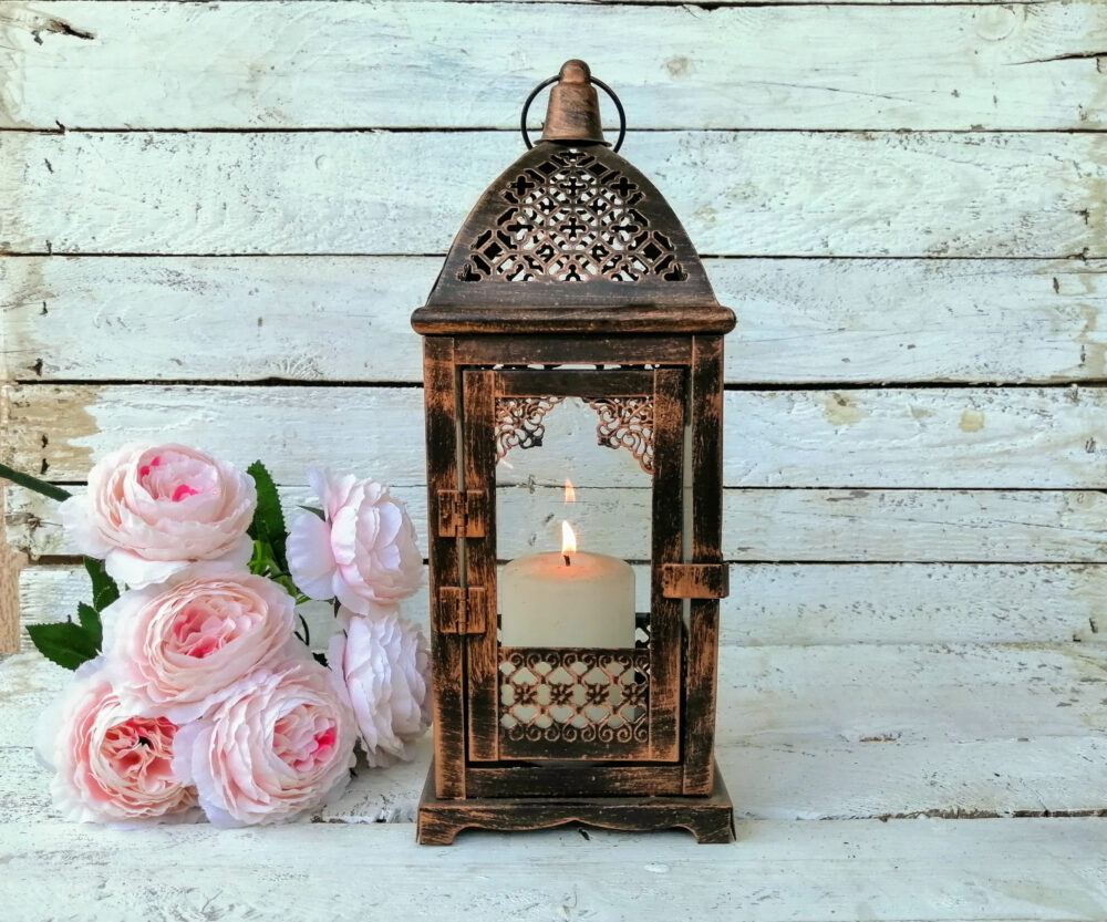 Rustic Lantern Wedding Centerpiece Candle Holder Decoration Vintage Decor Pearl & Roses