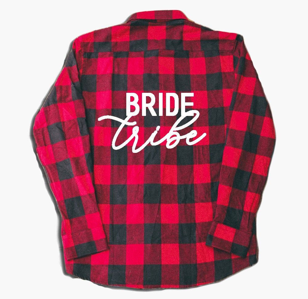 Bride Tribe, Wedding Flannel, Bridesmaid Proposal, Custom Shirts, Red Flannel Shirt, Plaid Country Wedding, Rustic, Buttons