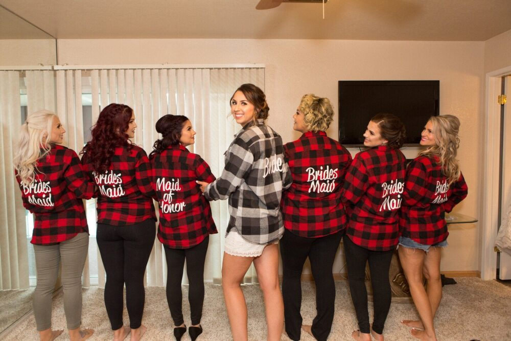 Bridesmaid Flannels Bachelorette Party Robes Gifts Custom Bride Flannel Shirts