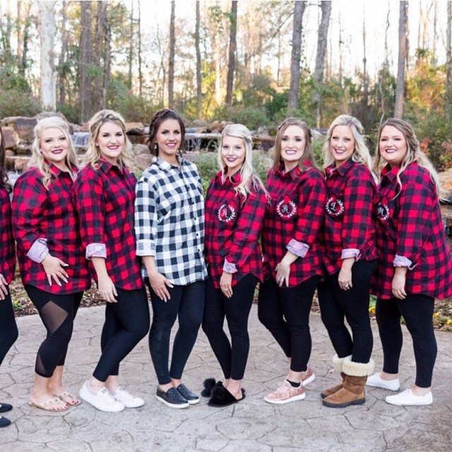 Bridal Custom Flannel Shirt, Bride Flannel Bridesmaid Button Down Shirt Getting Ready Over Sized Monogram Christmas Gifts 12
