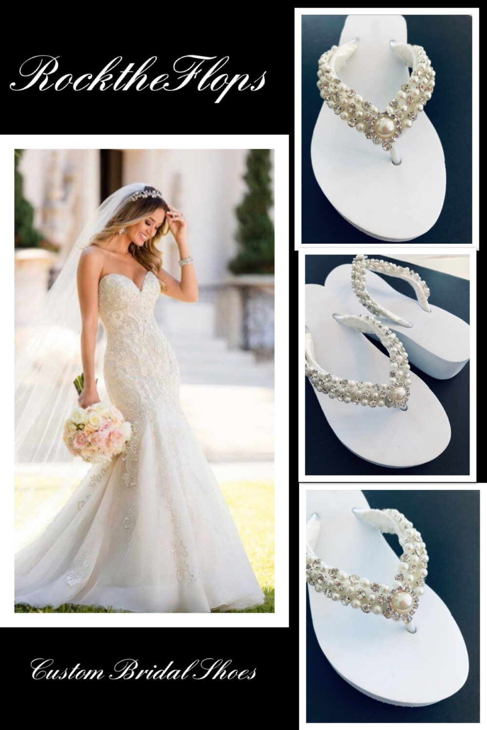 Beaded Bridal Flip Flops. Wedding Shoes Wedges. Rhinestone Sandals. Beach Destination Flops . White