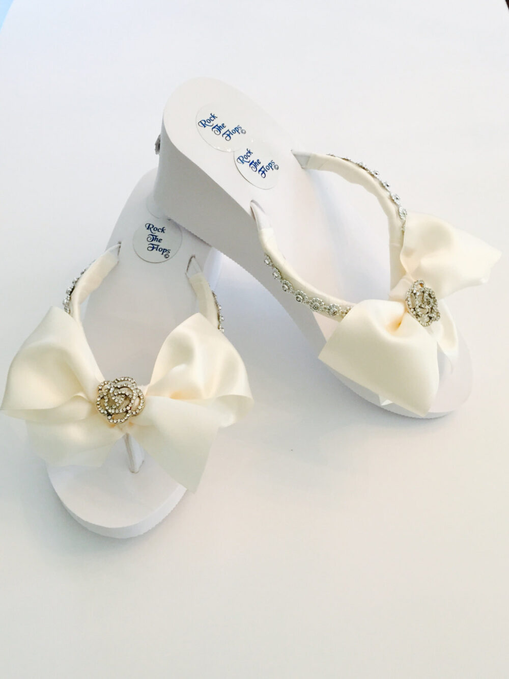 Bridal Flip Flops Wedding Flops.wedding Shoes.bridal Shoes.rhinestone Shoes.i Do Shoes Slippers