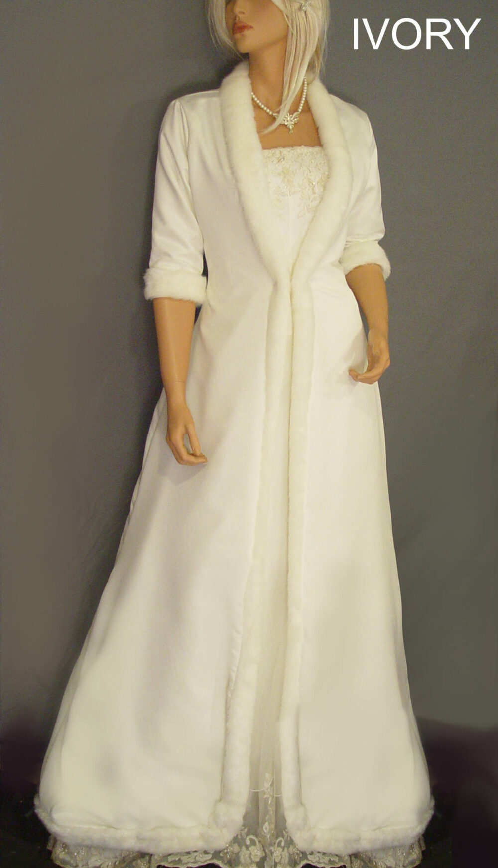 Full Length Satin Bridal Coat Wedding Jacket With Faux Fur Trim & 3/4 Sleeves Winter Bride Cover Up Clk205 Avl in Ivory & One Other Color