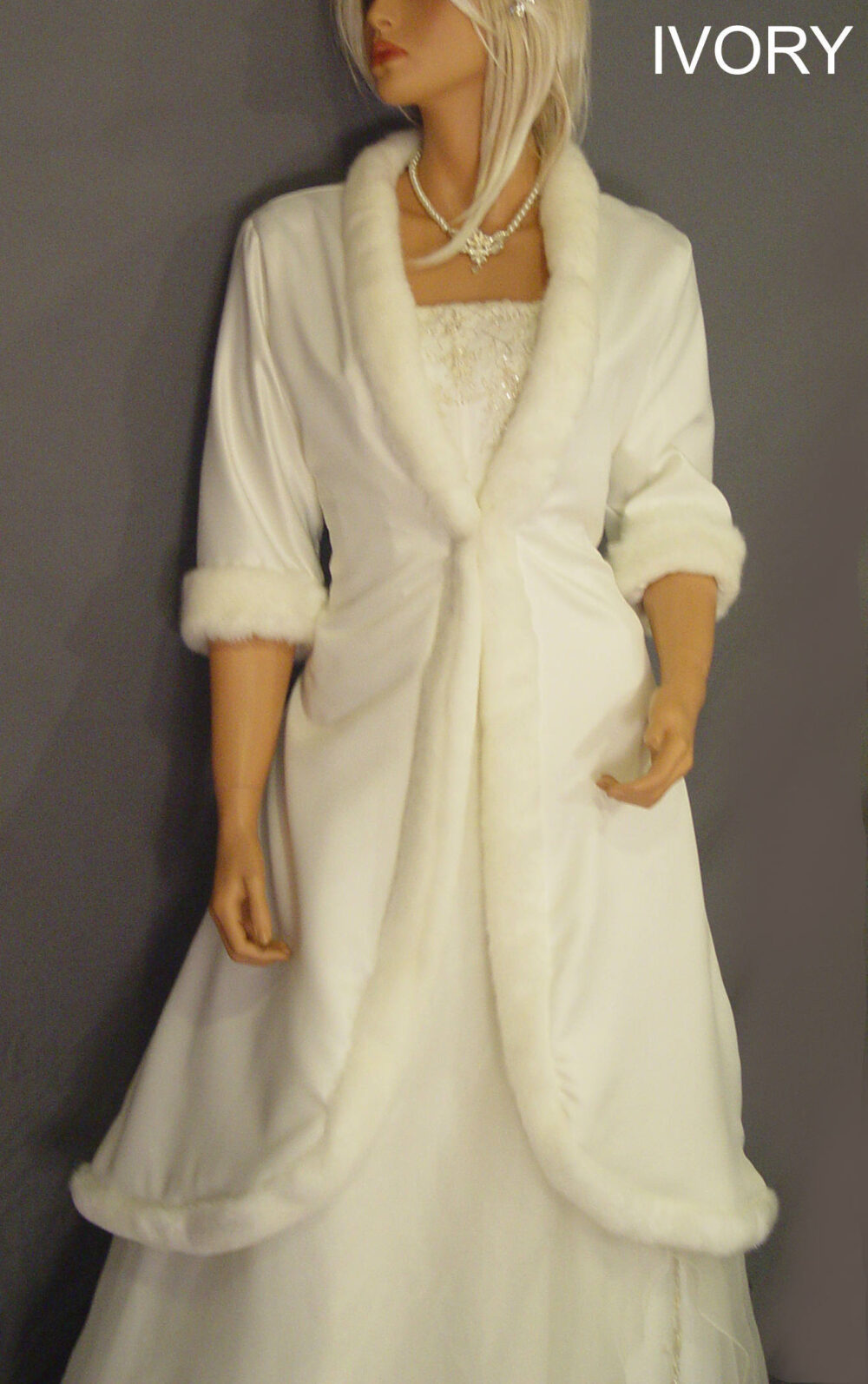 Mid Length Satin Bridal Coat Wedding Jacket With Faux Fur Trim & 3/4 Sleeves Winter Bride Cover Up Clk206 Avle in Ivory & 1 Other Color