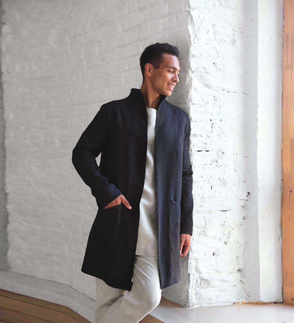 Trench Coat Men, Linen Jacket For Man, Stylish Linen Apparel, Black Cardigan, Wedding Jacket, Gift Him, Lux Gift, Outfit