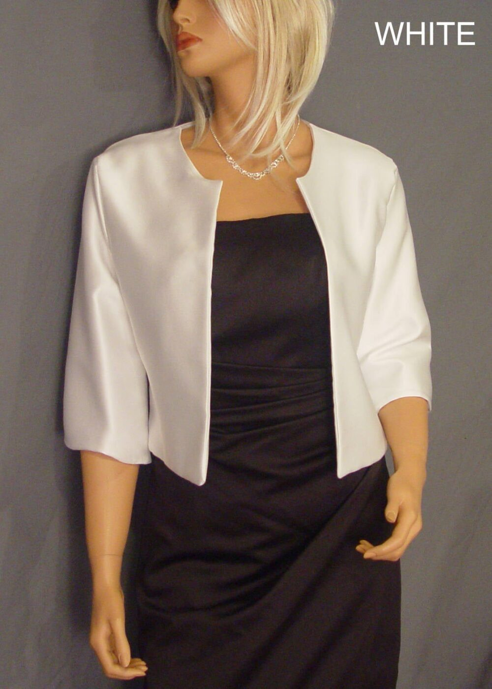 Satin Jacket With 3/4 Sleeves Hip Length Bolero Wedding Shrug Coat Cover Up Blouse Wrap Sba129 Available in White & 5 Other Colors