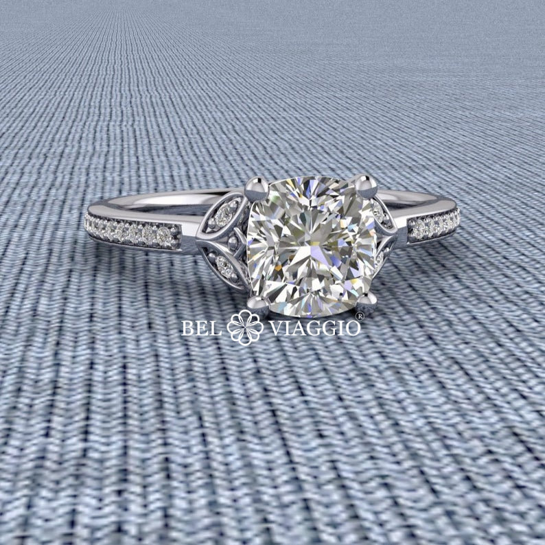 Make Payments, Moissanite Ring, Cushion Cut Engagement Diamond Ring in Gold Or Platinum 1.25Ct