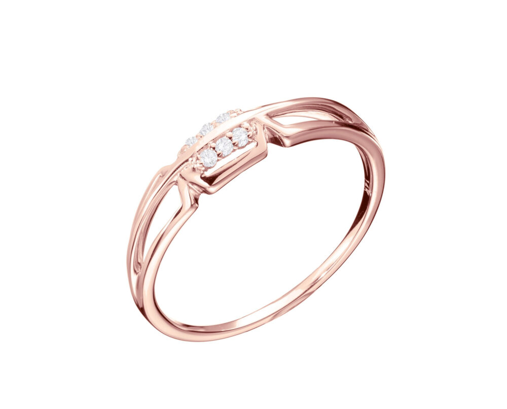 Rose Gold & Diamond Ring, Modern Engagement Diamond Ring For Women, 14K Rose Unique Simple Natural Wedding Ring