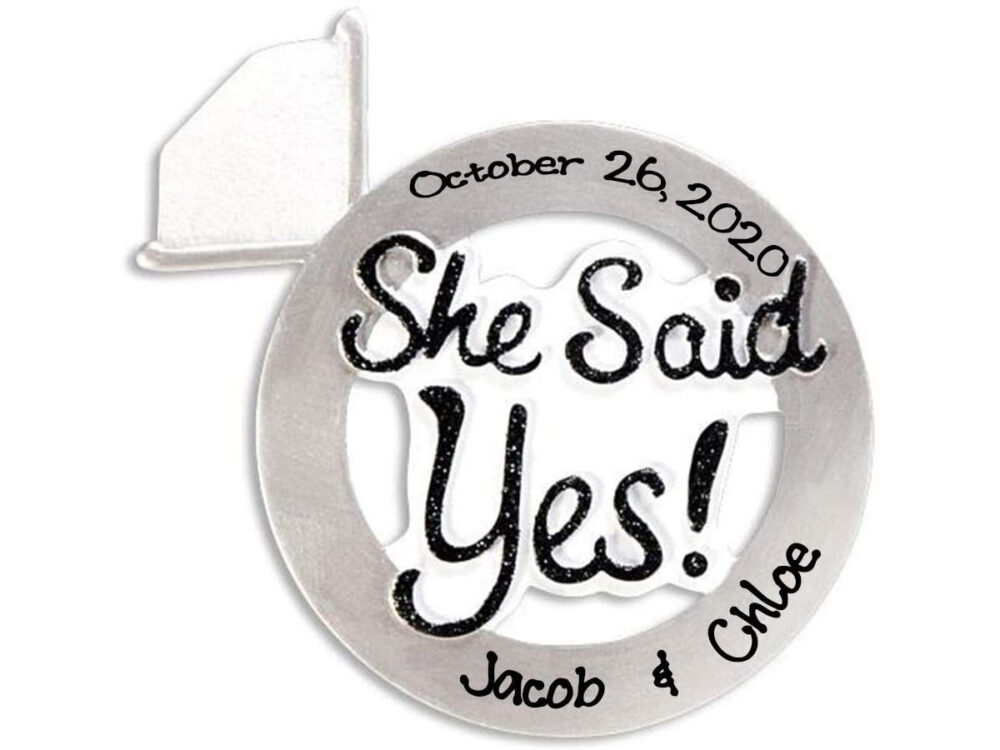 Personalized Engaged She Said Yes Christmas Ornament 2020 | Custom Writing Engagement Diamond Ring Ornaments
