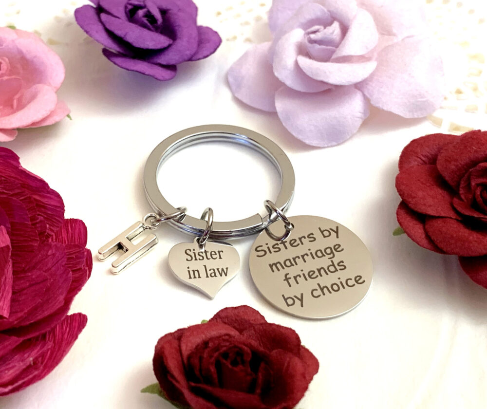Sisters By Marriage Friends Choice Key Chain, Sister in Law Gift, Keyring, Jewelry, Free Shipping in Usa