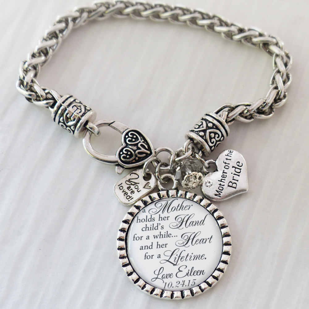 Wedding Gift For Mother Of The Bride-Keepsake-Personalized Bride Bracelet-White-Wedding Date Bracelet - From