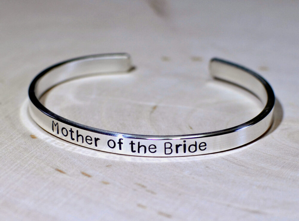 sterling Silver Mother Of The Bride Wedding Cuff Bracelet - Solid 925 Br271