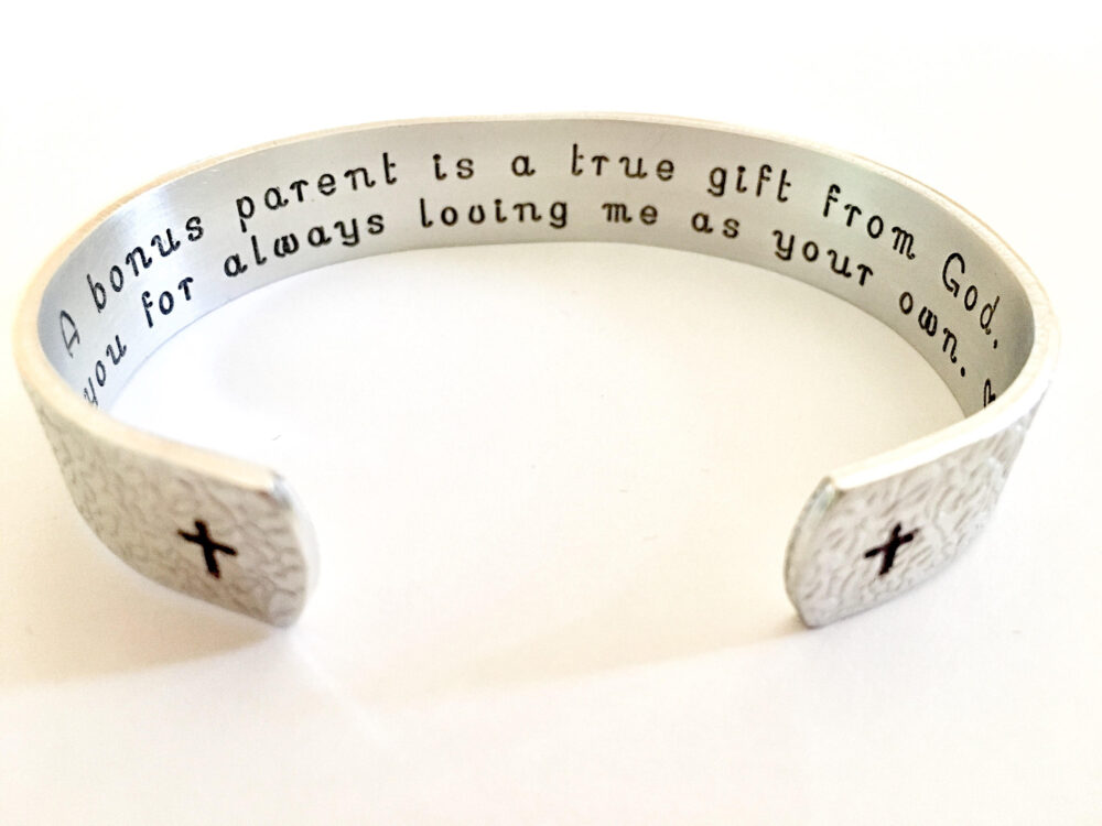 step Mother Of The Groom Gift, in Law Gift, Bonus Parent Wedding Mother Bride, Personalized Aluminum Bracelet. Perfect T