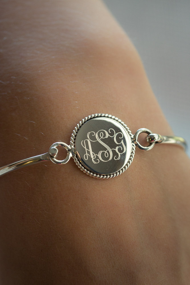 Bridesmaid Present Nautical Rope Monogram Bracelet in Sterling Silver Stacking Bangle Personalized For Wedding Mother Mom