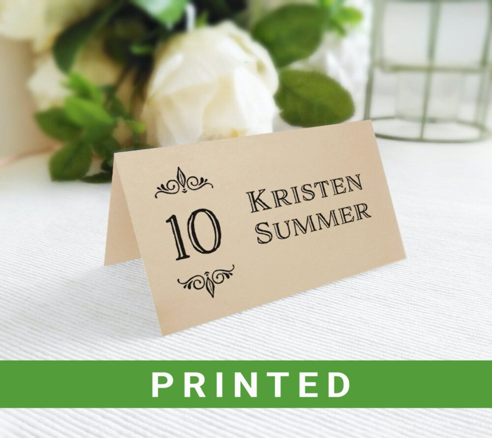 Wedding Table Place Cards Printed | Personalized Rustic Folded