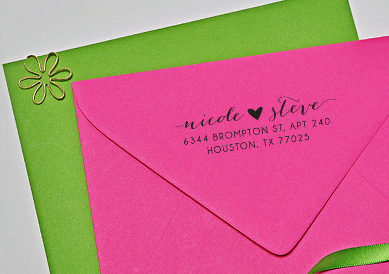 Personalized Wedding Address Stamp, Custom Stamp With Heart, Calligraphy H113