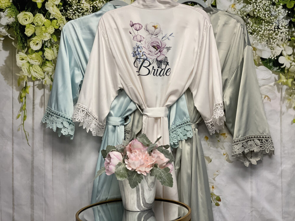 Silky Lace Robes, Wedding Personalized Bridesmaid Robe, Dressing Gown, Pjs, Flower Girl Maid Of Honor