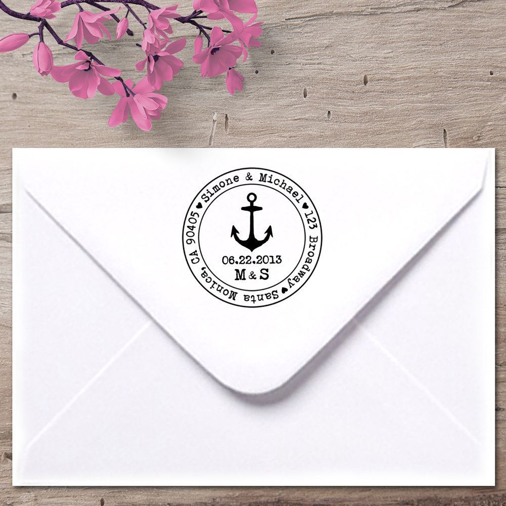 Anchor Address Stamp, Nautical Wedding, Cruise Ship Weddings, Save The Date Wedding Stamp