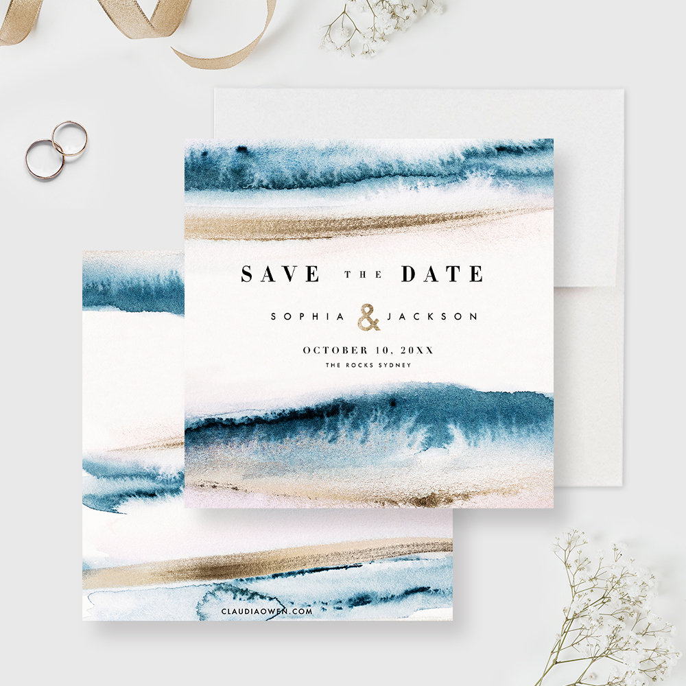 Destination Wedding Save The Date Card, Watercolor Wash Waves & Sand Beach Wedding, Cruise Blue Ocean, Sea