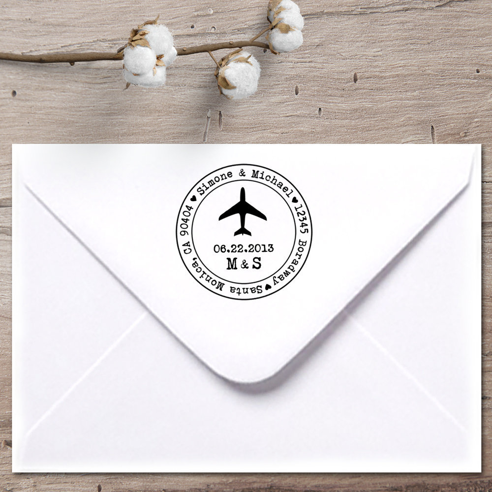 Airplane Custom Address Stamp, Return Wedding Save The Date Stamp, Destination Stamp