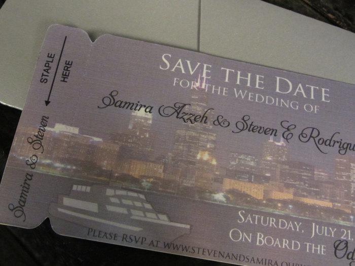Boarding Pass Save The Date. Chicago Skyline Wedding Save Date. Yacht Invitation