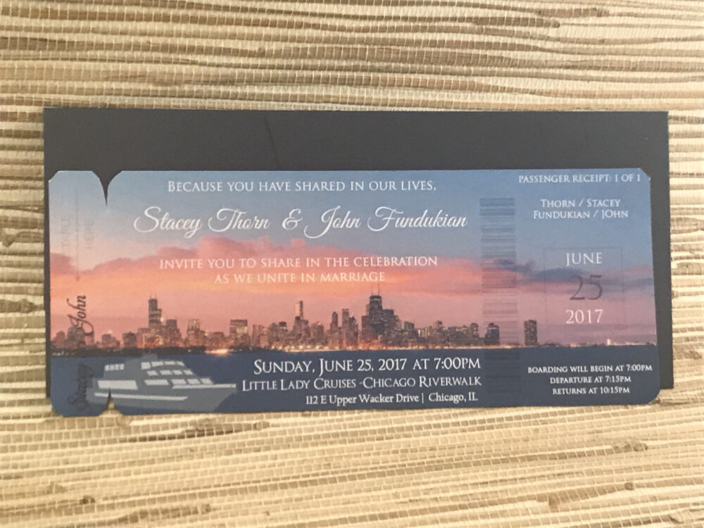 Boarding Pass Save The Date. Chicago Skyline Wedding Save Date. Yacht Invitation. Little Lady Chicago