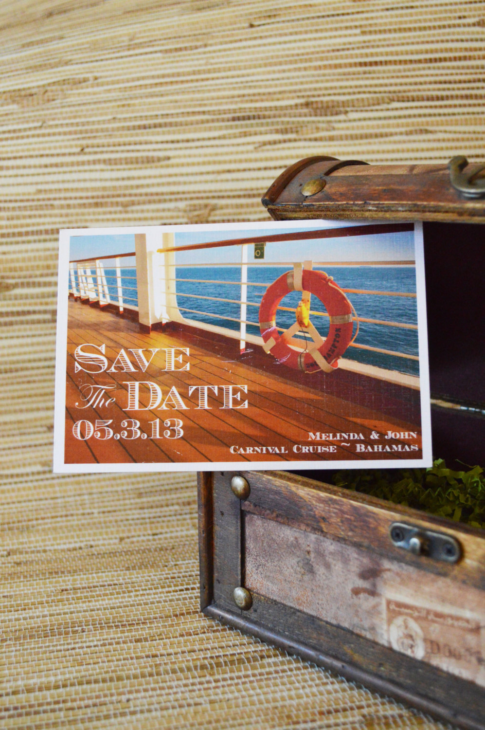 Postcard Save The Date - Cruise Ship Design. Nautical The Date. Wedding