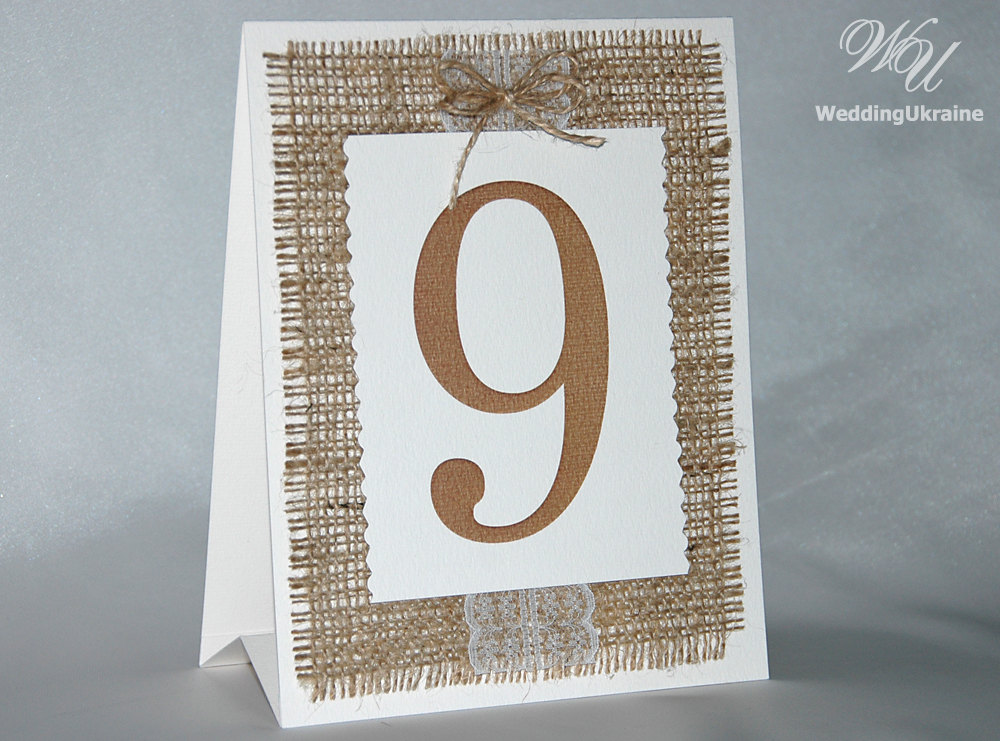 Rustic Wedding Table Numbers With Burlap, Lace & Cord Bow - Natural Eco Style Party Number